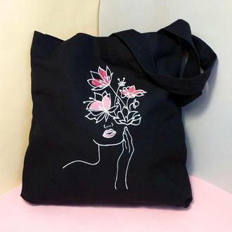 Экосумка с рисунком,чорная сумка из хлопчатобумажная ткань, Женская сумка