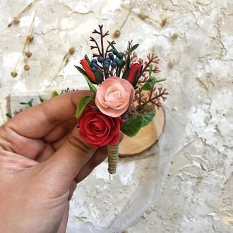 Бутоньєрка для нареченого, свадебная бутоньерка