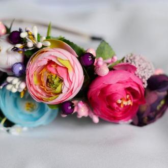 Ободок на голову из искусственных цветов №20