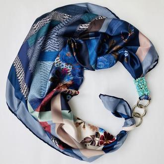 Атласный шарф,,Горная лаванда ,, , атласный платок, шарф-колье, шарф-чокер, шейный платок
