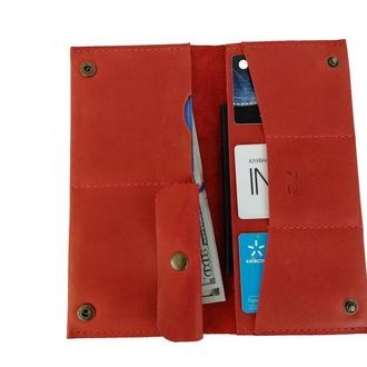 Женский красный кожаный бумажник х3 (10 цветов)