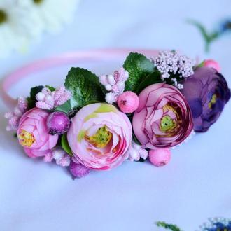 Ободок на голову из искусственных цветов №24