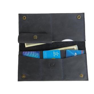 Женский синий кожаный бумажник х3 (10 цветов)