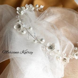 Ніжний Віночок для нареченої, вінок весільний, гілочка в зачіску для нареченої