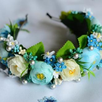 Венок / ободок на голову из искусственных цветов №27