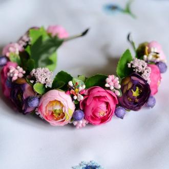 Венок / ободок на голову из искусственных цветов №28