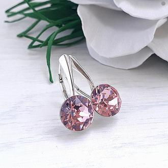 Серебряные серьги с бриллиантами Сваровски