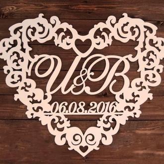 Фамильный Герб в Сердце с Датой 58х50см Свадебные Инициалы, деревянная монограмма, семейный