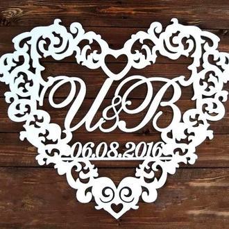 Фамильный Герб в Сердце с Датой Белый 58х50см Свадебные Инициалы, деревянная монограмма, семейный на