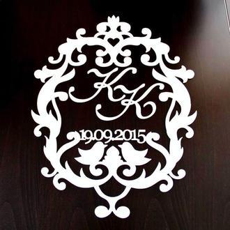 Фамильный Герб Белый с Датой 55х45см Свадебные Инициалы из дерева, деревянная монограмма, семейный