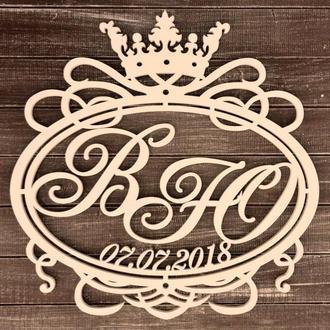 Фамильный Герб с датой 60х60см Свадебные Инициалы из дерева, деревянная монограмма, семейный герб
