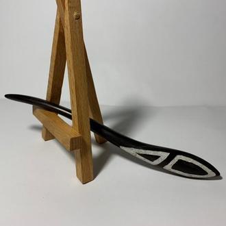 Шпилька заколка деревянная для волос с инкрустацией камня перламутр