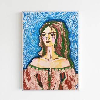 Женский портрет картина Средневековый наряд Иллюстрация Голубой фон