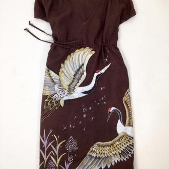 Льняное платье журавли