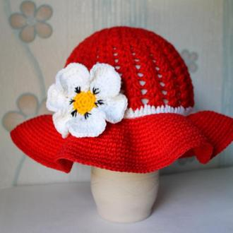 Красная шляпка крючком/Панамка ребенку/  Червона шапочка