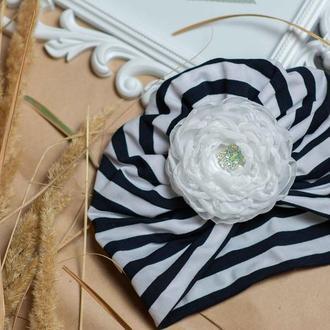 шапка чалма для девочки, в полоску, с цветком на липучке