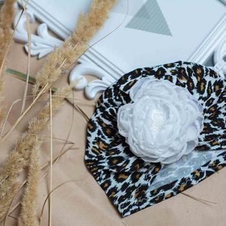 шапка чалма леопардовая с цветком