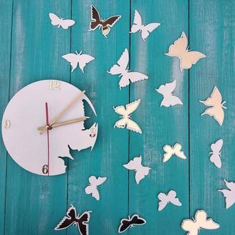 """Оригинальные настенные часы """"Бабочки"""", часы с бабочками, настенные часы из дерева"""