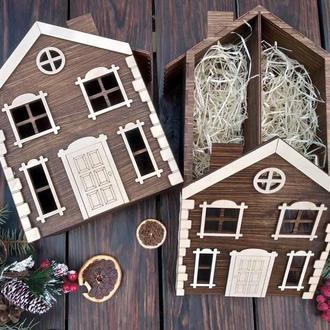 """Деревянная коробка """"Домик"""" на 2 отделения, коробка для подарка, новогодняя коробка, 28*23,5*12 см"""