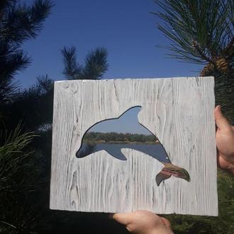 Панно деревянное дельфин .Картина на досках.Настенный декор