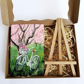 Картина маслом велосипед, Велосипед картина, Миниатюрная живопись, Маленькая картина