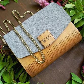 Дерев'яна сумочка, жіноча сумочка, женская деревянная сумка кипарис