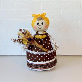 Баба-грелка на чайник СОЛОХА в народном стиле (коричневая)