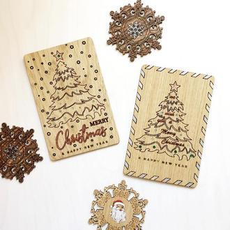 Оригинальная деревянная Рождественская открытка