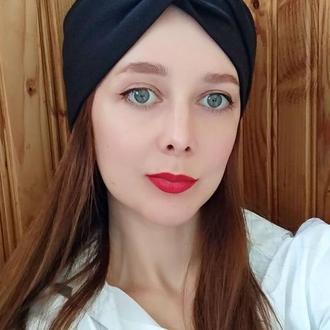 Повязка на голову чалма черная женская тюрбан узелок для волос