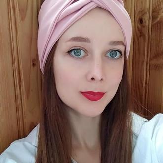 Пов'язка на голову рожева чалма жіноча тюрбан вузлик для волосся