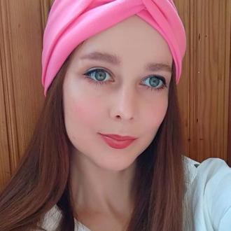 Повязка на голову розовая чалма женская тюрбан узелок для волос