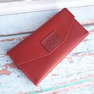 Шкіряний жіночий гаманець-клатч 'Lady' (червоний)