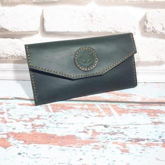 Кожаный женский кошелёк-клатч ′Lady′ (зелёный, бутылка)