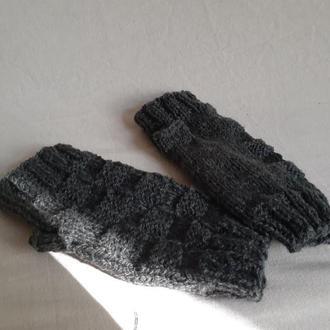 Мужские Серые Вязаные Шерстяные Митенки. Теплые перчатки без пальцев Подарок мужу