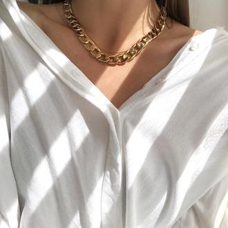 Массивная золотая цепь, крупная цепочка, большая цепочка чокер, золотая цепь на шею