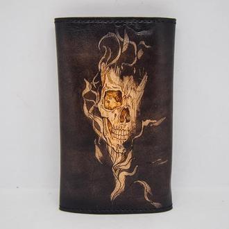Кожаный кисет для табака, кисет подарок курильщику, кисет ручной работы с рисунком черепа