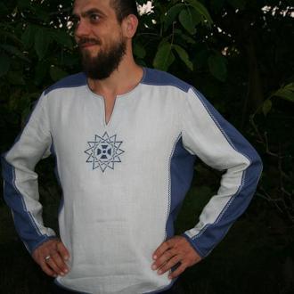 Рубашка льняная мужская Звезда Эрцгаммы