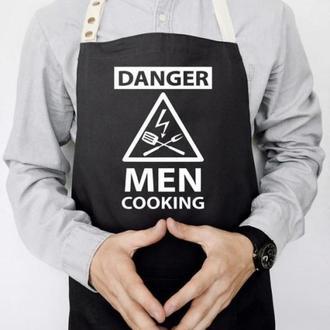 """ФА000052 Фартух з принтом """"Danger Men cooking"""""""