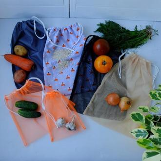 "Эко мешочки, набор эко пакетов ""Лисички"" для покупок, фруктовки, мішечки zero west"