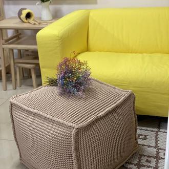 Дизайнерский трендовый пуф ручного плетения квадратной формы