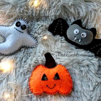 Фетровые игрушки к празднику Хеллоуин (привидение, летучая мышь и тыква) halloween декор