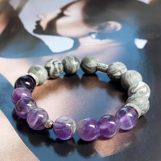 Браслет из натуральных камней, браслет из аметиста, браслет из яшмы, оберег