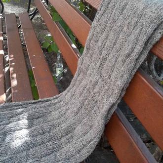 Серый Длинный Шерстяной Шарф 30х150см вязаный спицами с рельефным узором Теплый подарок мужу