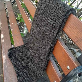 Черно-серый длинный шерстяной объемный шарф вязаный спицами. Теплый Подарок мужу
