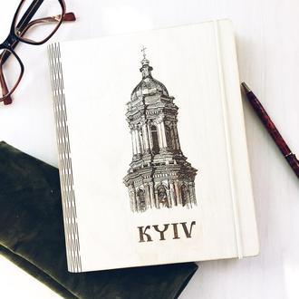 Деревянный блокнот с гравировкой. Подарочный блокнот Киев.