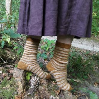 Шерстяные женские вязаные носки из овечьей шерсти
