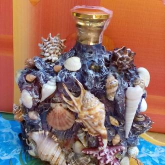 Бутылка, декорированная в морском стиле