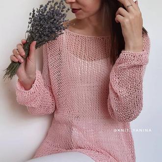 Свитер паутинка из хлопка в розовом цвете