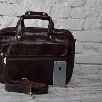 Мужская деловая кожаная сумка.Коричнево-шоколадный цвет.