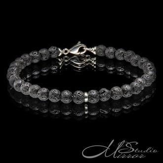 Мужской браслет из лавы с серебром